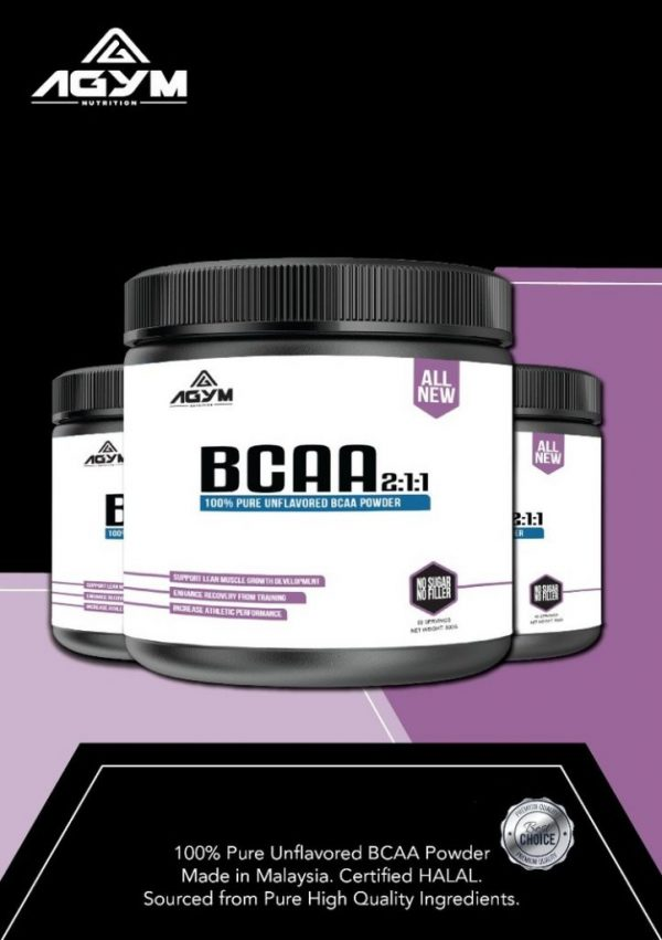 Agym Nutrition BCAA 2:1:1, 300gram (Unflavoured)