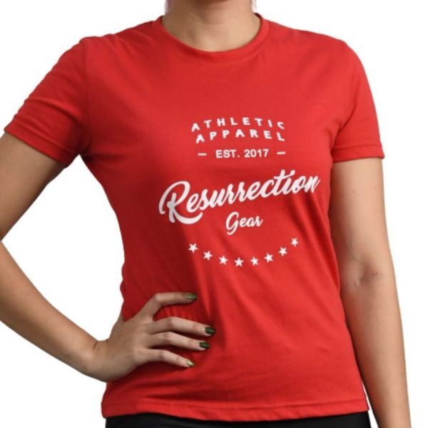 Resurrection Gear Ladies Athletic Apparel Red Shirt Fitness Gym Apparel