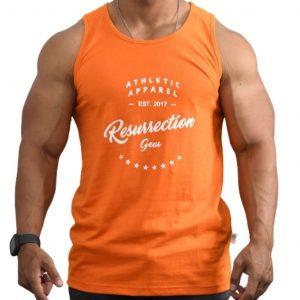 Resurrection Gear Athletic Apparel Orange Tank Top Fitness Gym Apparel
