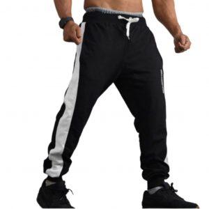Resurrection Gear Men's Black White Line Jogger Pants Fitness Gym Apparel