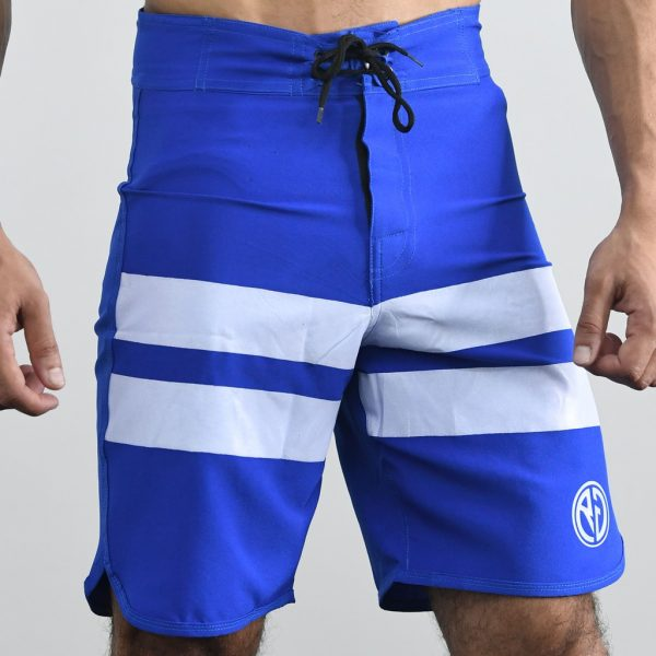 Resurrection Gear Blue Board Shorts With White Stripes
