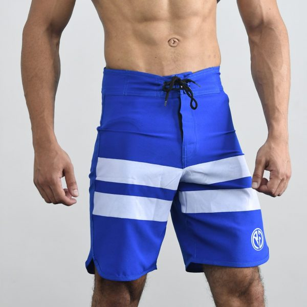 Resurrection Gear Blue Board Shorts With White Stripes Fitness Gym Apparel