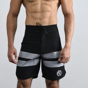 Resurrection Gear Black Board Shorts With Grey Stripes Fitness Gym Apparel