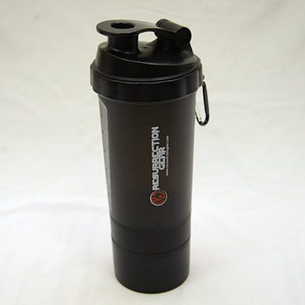 Resurrection Gear 3 Layers Compartment Water Bottle Shaker - 600ml Fitness Gym Equipment