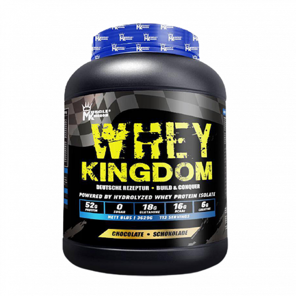 MK Whey Kingdom (Chocolate) Whey Protein Hydro Whey Isolate Primary 8 lbs/3.6KG (113 serving) German Imported Halal Whey Fitness Gym Supplement